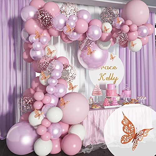Soonlyn Baby Shower Decorations for Girl 140 Pcs Pink Balloon Garland with Butterfly Stickers 18 In 12 In 10 In 5 In Lilac Purple Chrome Rose Gold Confetti Balloon Arch Kit for Girl Birthday Party Bridal Shower