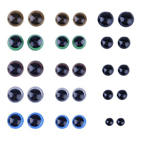 KUUQA 264 Pieces Plastic Safety Eyes with Washers for Doll, Puppet, Plush Animal 6~12mm