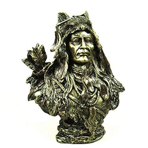 GZSBM Estatua Escultura Escultura De Busto De Cazador De Resina Estatua De Jefe De Tribu Regalo Artesanía Decoración del Hogar