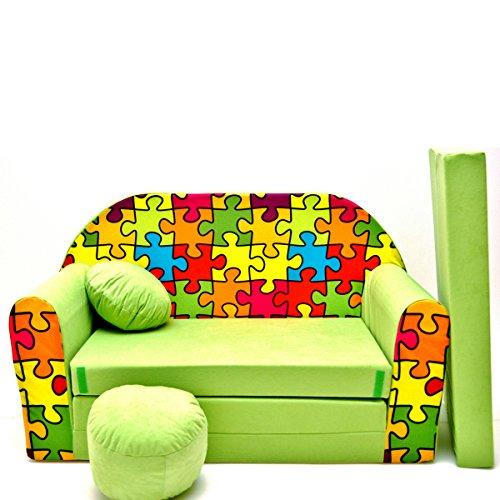 Kindersofa Kinder Sofa Couch Baby Schlafsofa Kinderzimmer Bett gemütlich verschidene Farben und motiven (Z34 grün Puzzle)