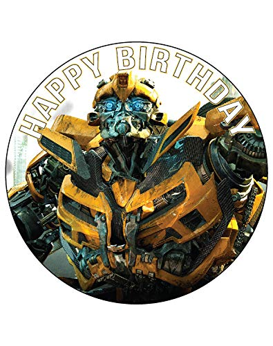 7.5 Inch Edible Cake Toppers – Transformers: Bumblebee Themed Birthday Party Collection of Edible Cake Decorations