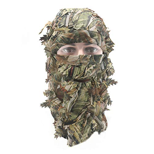 EAmber Ghillie Camouflage Leafy Hat 3D Full Face Mask Headwear Turkey Camo Hunter Hunting Accessories (Reed Forest)