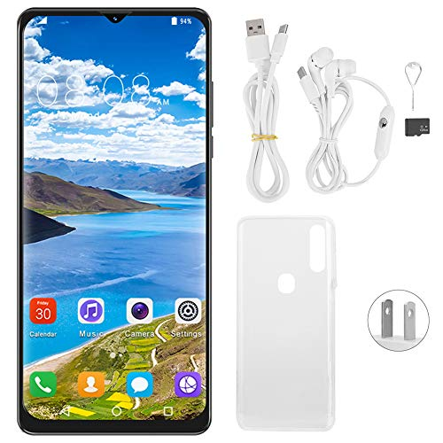Hopcd 6.7in Unlocked Smartphone, A91 Face Recognition+Fingerprint Unlocked Cell Phones, MTK6580P Quad-core, with Dual SIM GSM Unlocked, 6G+128GB, for Android 10.0(US)