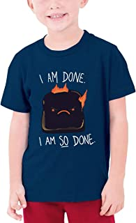 AiguanAngry Toast Boys Graphic T-Shirt Top Navy