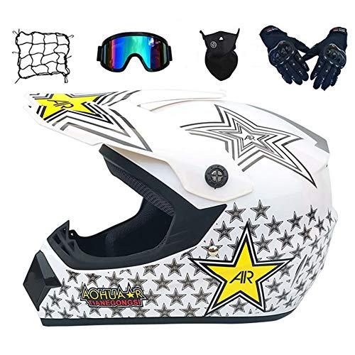 Full Face AR Star Juegos de Cascos de Motocross Dirt Bike Racing Crash Motocicletas Cascos Dot, Adultos Off Road Moto Guantes Gafas Máscara Net Packet Gifts (Size : L(57~58cm))