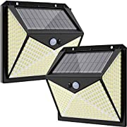 Solar Lights Outdoor, 350 LED Solar Motion Sensor Light, IP65 Waterproof 3 Lighting Modes Solar Security Lights Outdoor, Solar LED Outdoor Wall Lights for Garden Fence Patio,2 Pack