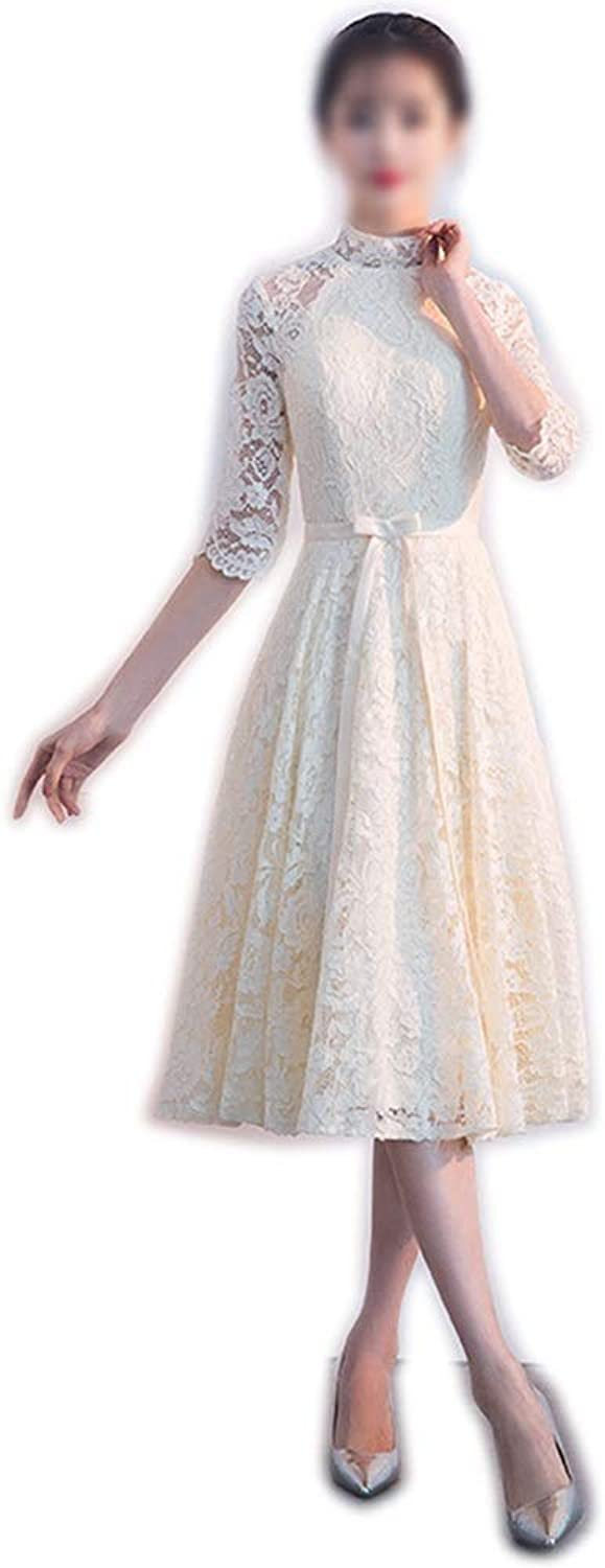Kirabon Women's High Collar Long Sleeves Lace Evening Dress (color   Champagne, Size   XL)