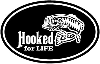 MDUHND Car Sticker 13Cm X 8.3Cm Car Styling Hooked for Life Bass Catfish Walleye Fishing Boat Vinyl Decals Car Stickers Car Accessories
