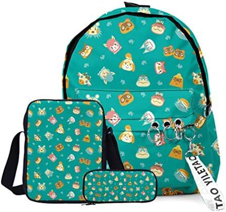 Animal School Backpack for Teen Boys Girls Women Lightweight Anime Backpacks Set of 3 Green product image