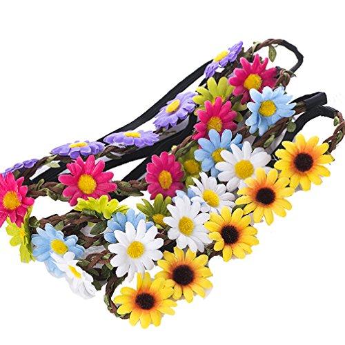 AWAYTR 9 pezzi ghirlanda con fascia per capelli corona floreale bohémien per donna accessori per capelli ragazza per festa di matrimonio multicolore (multicolore B)