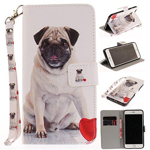 Capa tipo carteira XYX para iPhone 6s Plus, [Pug] [Al?a de pulso] Capa tipo carteira PU premium de couro com slots para cart?o para iPhone 6 Plus/iPhone 6S Plus