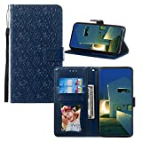JZ [Rattan Flower Funda For para ZTE Axon7 Protective PU Leather Wallet Flip Cover with [Wrist Strap] - Dark Blue