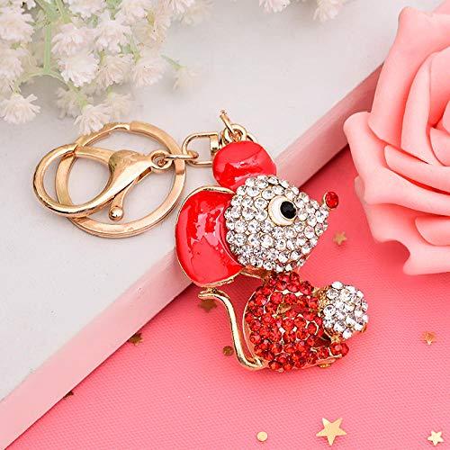Sinzong rugzak hanger meisjes legering diamant kleine muis sleutelhanger mannen en vrouwen tas autoaccessoires 2 stuks rood
