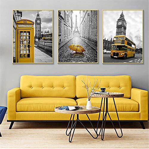 woplmh Nordic Poster und Drucke Gelbe Telefonzelle Bus Schwarz Weiß Wandkunst London Pairs Wandbilder (40x60cmx3 ohne Rahmen)