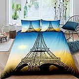 Juego de ropa de cama de la Torre Eiffel famosa ciudad de París funda de edredón para niños, niñas y adultos, funda de edredón de estilo moderno francés, color amarillo y azul