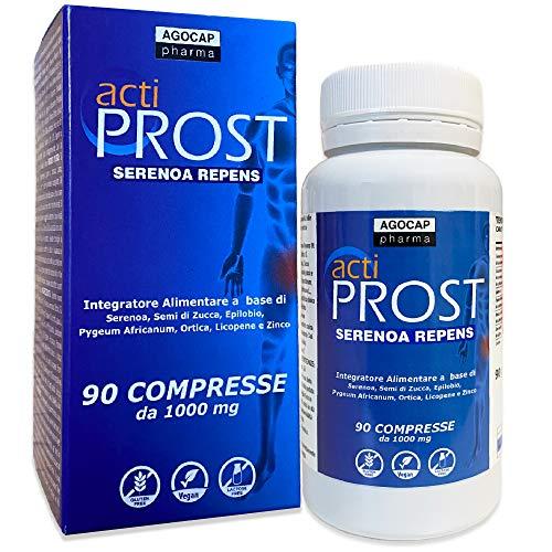 Actiprost, integratore per la prostata, 90 compresse | 400 mg Serenoa Repens (saw palmetto) con Semi di Zucca, Pygeum Africanum, Epilobio, Ortica, Licopene| 2 cpr al giorno, per le vie urinarie,Agocap
