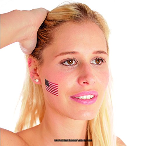 10 x Amerika Tattoo Fan Fahnen Set - America temporary tattoo Flag (10)