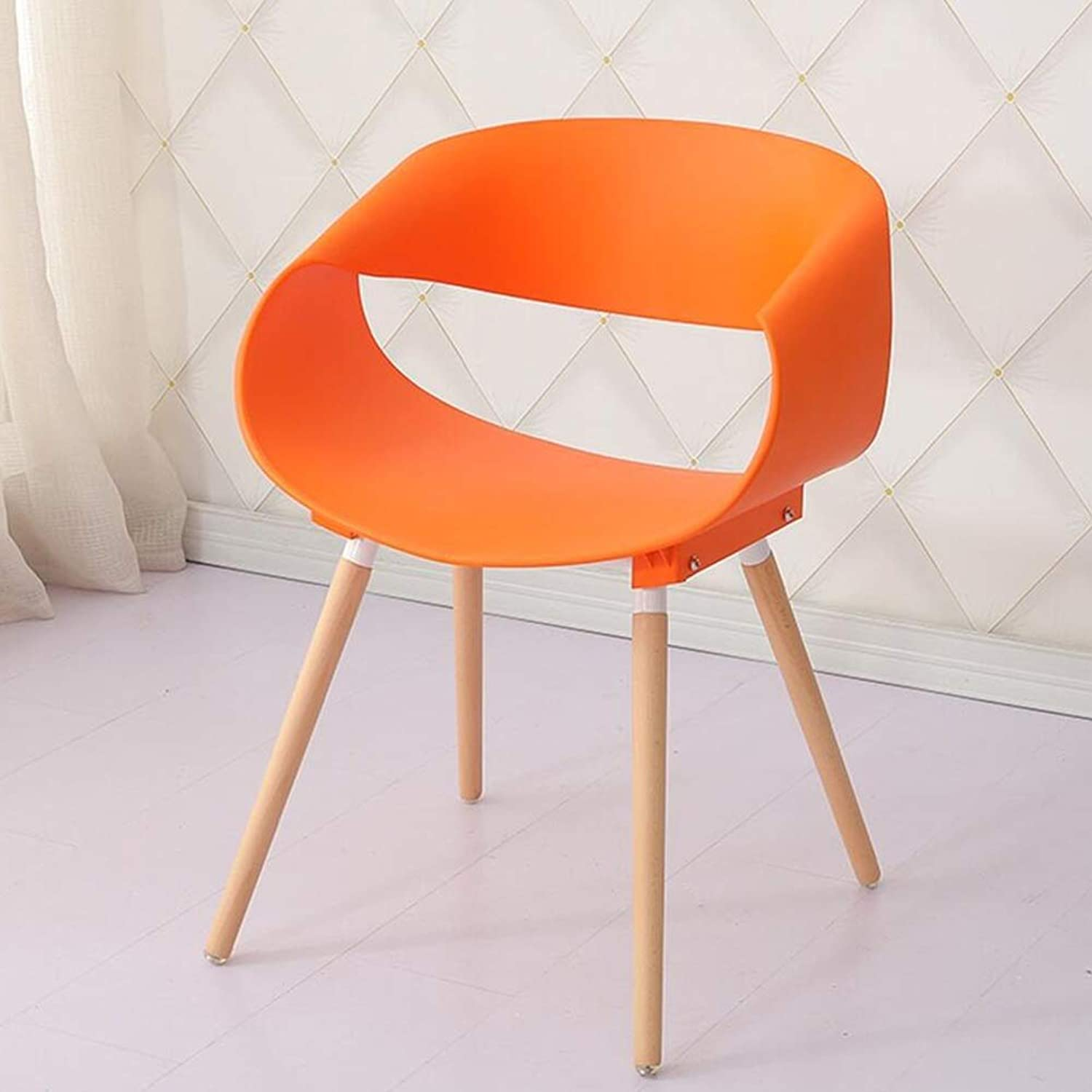 Chair Dining Chairs Seat Chair Plastic Negotiate Casual Entertain Armrest Creativity Simple Curve FENPING (color   orange)