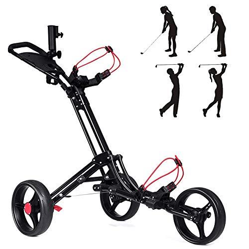 Starsmyy 3-Rad Golftrolley, Golfwagen Golf Klappbar, Push Pull Cart Golf Mit Kesselständer Anzeigetafel Golf Cart Light Trolley, Leicht Zu Tragen Und Zu Falten