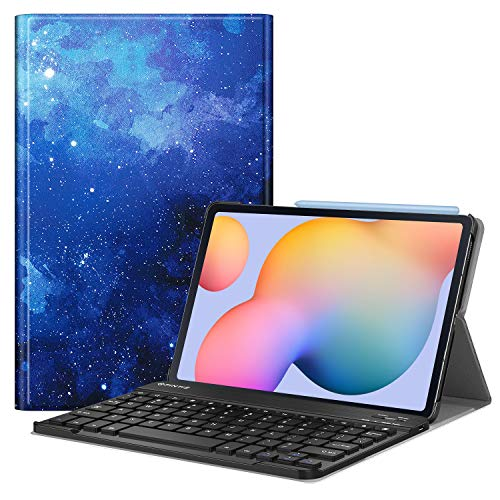 Fintie Keyboard Case for Samsung Galaxy Tab S6 Lite 10.4'' 2020 Model SM-P610 (Wi-Fi) SM-P615 (LTE), Slim Stand Cover with Secure S Pen Holder Detachable Wireless Bluetooth Keyboard, Starry Sky