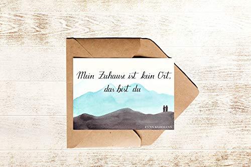 Zitatkarte Liebe Zuhause | Liebeskarte mit Spruch Zuhause ist kein Ort das bist du - Songtext Fynn Kliemann
