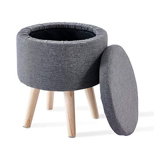 Cplxroc Sgabello con vano portaoggetti, coperchio rimovibile, seduta imbottita in lino, legno massiccio (grigio scuro)