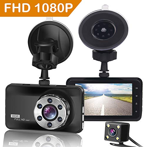 "ORSKEY Dash Cam Front and Rear 1080P Full HD Dual Dash Camera in Car Camera Dashboard Camera Dashcam for Cars 170 Wide Angle with 3.0"" LCD Display Night Vision and G-Sensor"
