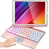 Touchpad Keyboard Case for iPad 8 Gen 2020, iPad 7 Gen 2019, iPad Air 3 2019, iPad Pro 10.5 inch 2017, Compatible with iPad 10.2/10.5 inch, 360 Rotation, Rainbow Backlights - Rose Gold