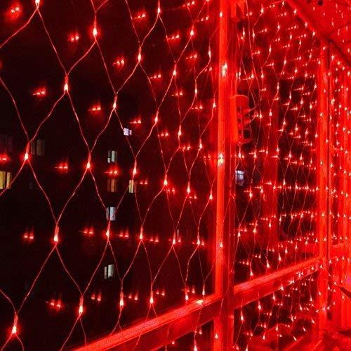 RENUS Netzlicht LED Mesh-Licht 3m x 2m 320 LEDs wasserdichte Dekorative Außenleuchte Lichterketten mit 8 Lichtmodelle für Partydekoration deko schlafzimmer,Weihnachten, Innenbeleuchtung, Rot