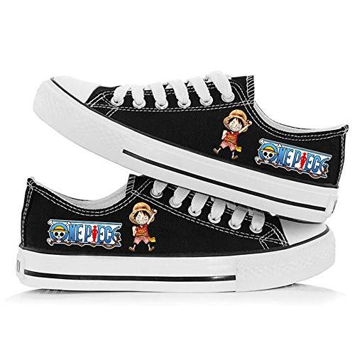 jiushice One Piece Anime Cosplay Zapatos Zapatos de Lona, Unisex Adulto con Cordones Entrenadores Botines Zapatos Casuales Gimnasio Zapatos Deportivos