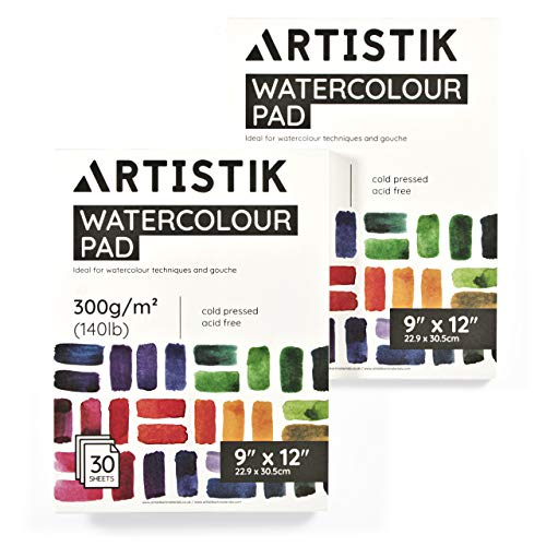Watercolor Paper Pad - 9 x 12 Inch, 30 Sheets (Pack of 2) - Cold Pressed Watercolor Paper Pad Sketchbook for Mixed Media Art and Water-Based Mediums