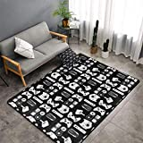 Large Area Rug Dining Room Living Room Bedroom Carpet Luxury Non-Skid Super Soft Floor Carpet Machine Washable Rug 5' x 7' (Video Game Weapon Funny Gamer Black)