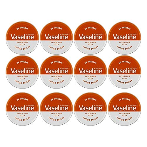 Vaseline Lip Balm Therapy Petroleum Jelly 20g Cocoa Butter (Pack of 12)