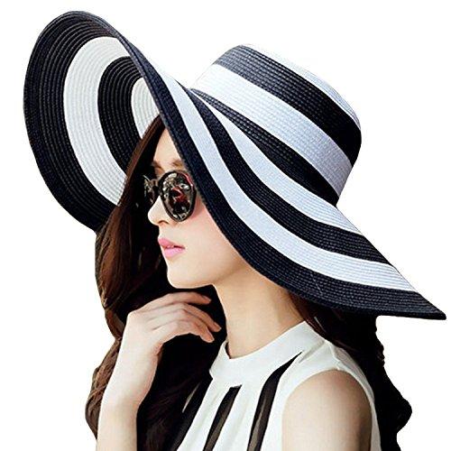 TININNA Moda Sombrero,Bohemia Verano Sun Floppy Plegable Sombrero de la Playa de Disquete ala Raya...