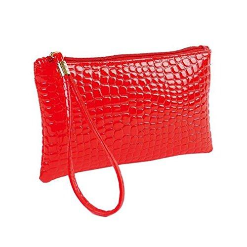 TIFIY Frauen Reine Farbe Mode Krokodilleder Clutch Handtasche Tasche Geldbörse Tasche Kleine Zahnbürste Tasche (Rot)