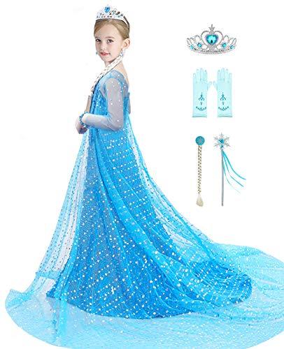 Bestier Girls Princess Dress Elsa Costume - Luxury Sequin Birthday Party Dress Up Girls 2-10 Years (Blue, 4-5 Years)