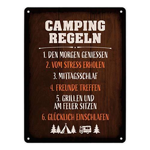 trendaffe - Metallschild XL mit Camping Motiv und Spruch: Camping Regeln