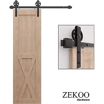 CCJH 4ft Sliding Barn Door Hardware Kit Fit 24 Wide Single Wooden Door Slide Smoothly/&Quitely J Shape Hanger