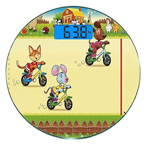 Escala digital de peso corporal de precisión Ronda Niños Báscula de baño de vidrio templado ultra delgado Mediciones de peso precisas,Ratón de carreras de gatos y perros en la bicicleta en la granja c