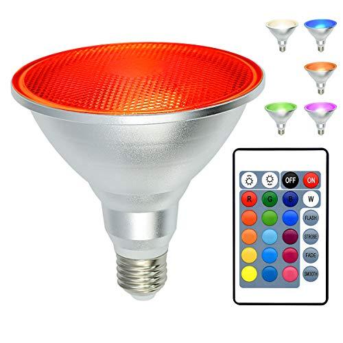Kuniwa PAR38 LED Scheinwerferschraube, 30W E27 LED Flutlicht, IP65 Wasserdichte, dimmbare, farbwechselnde Glühbirne mit Fernbedienung für die Dekoration von Innen-und Außenpartys RGB + Tageslicht