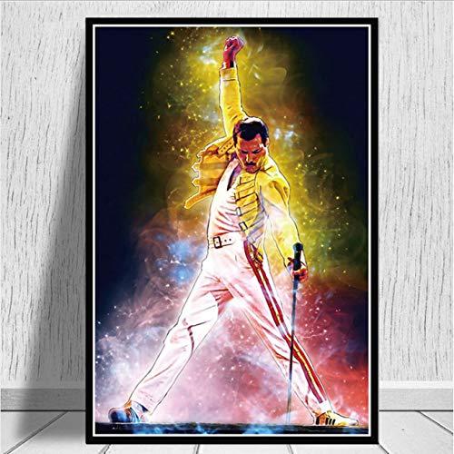 Neue Freddie Mercury Poster Und Drucke Bohemian Rhapsody Queen Wandkunst Leinwand Malerei Wandbilder Für Wohnzimmer Wohnkultur 40X60 cm Ohne Rahmen