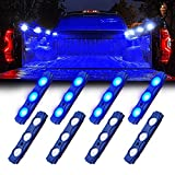 Xprite Blue LED Truck Bed Light Kits Rock Lights with On/Off Switch, for Pickup Footwells, Running Boards, Cargo, Under Car, Tonneau Cover, Rail Lighting - 8 PCs