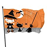 MINIOZE Cute Halloween Witch Girl Cat Broomstick Themed Welcome Party Outdoor Outside Decorations Ornament Picks Home House Garden Yard Decor 3 X 5 Ft Small Flag