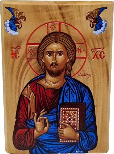 Holy Land Olive Wood Full Color Icon from Israel, Jesus King of The Universe, Handmade Wooden Standing Icon Plaque