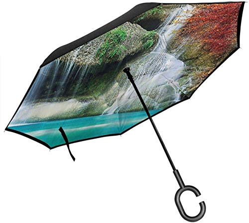 Big Stick Inverted Umbrella Upside Down Umbrella 2 Layer Folding Windproof UV Protection Portable with C Shaped Handle Inside Waterfall Landscape Print