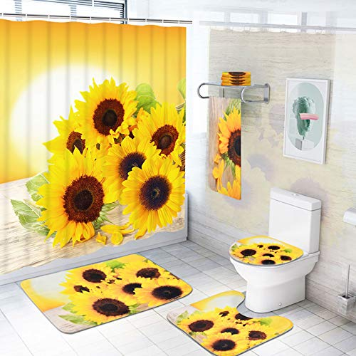 Pknoclan 7-teiliges Sonnenblumen-Duschvorhang-Sets mit Vorleger & Badetuch, WC-Deckelbezug, Badematte & Handtücher, Sonnenblumen-Baddekor-Set Duschvorhang mit 12 Haken, Sonnenblumen-Badezimmer