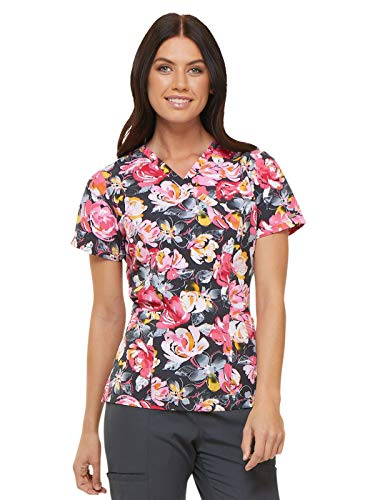 Elle Prints A La Mode Mock Wrap Scrub Top, XS, Rose to The Occasion Pewter