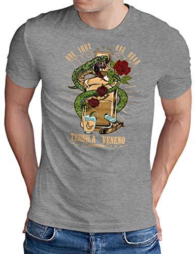 OM3® Tequila-Veneno T-Shirt | Herren | Drinking Fiesta Lime Sunshine Party | Grau Meliert, XXL
