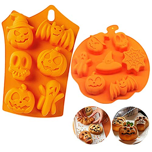 2Pack Halloween Pumpkin Candy Molds, Practical Creative Silicone Pumpkin Cake Mold Chocolate Gummy Molds, Kitchen DIY Handmade Cookie Baking Mold for Bat, Skull, Ghost Shapes