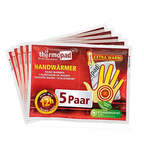 THERMOPAD Handwärmer – DAS ORIGINAL: 5 Paar Wärmepads für 12 Stunden Wärme I Sofort einsatzbereite Taschenwärmer I Extra warmes Heatpad – ideal für Outdoor-Aktivitäten & Handschuhe I Hand-Wärmekissen